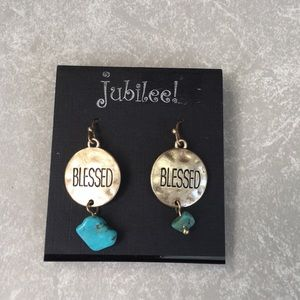 Jubilee! hanging Blessed earrings turquoise stone